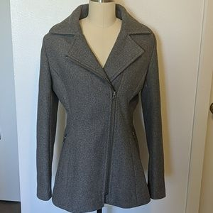 Kristen Blake Wool Blend Gray Zip Coat